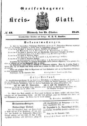 Greifenhagener Kreisblatt vom 25.10.1848