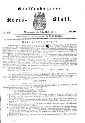 Greifenhagener Kreisblatt vom 15.11.1848