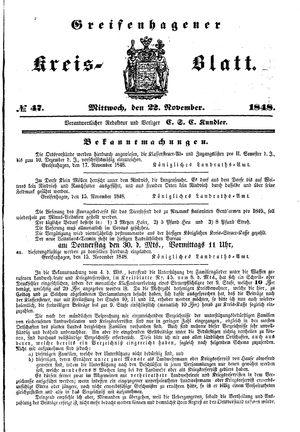 Greifenhagener Kreisblatt vom 22.11.1848