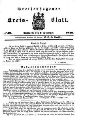 Greifenhagener Kreisblatt vom 06.12.1848