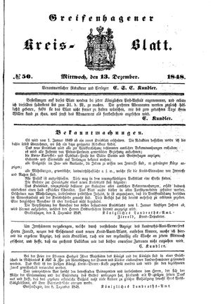 Greifenhagener Kreisblatt vom 13.12.1848