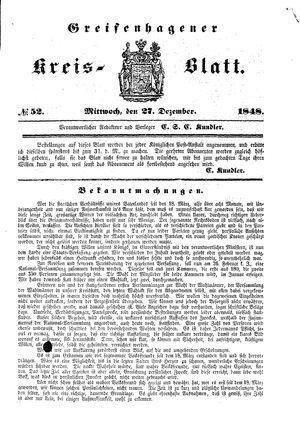 Greifenhagener Kreisblatt vom 27.12.1848