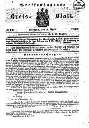 Greifenhagener Kreisblatt vom 04.04.1849