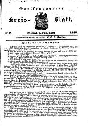 Greifenhagener Kreisblatt vom 11.04.1849