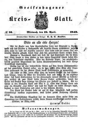 Greifenhagener Kreisblatt vom 18.04.1849