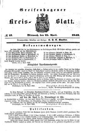 Greifenhagener Kreisblatt vom 25.04.1849