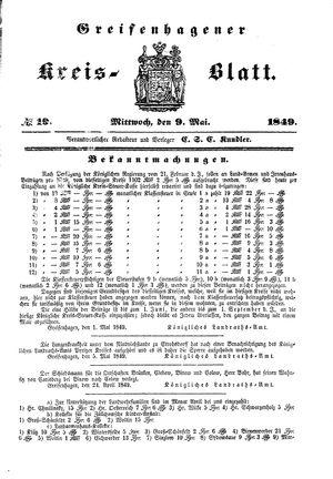 Greifenhagener Kreisblatt vom 09.05.1849