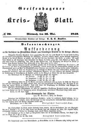 Greifenhagener Kreisblatt vom 16.05.1849