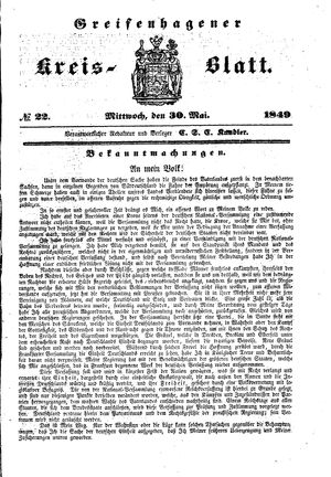 Greifenhagener Kreisblatt on May 30, 1849
