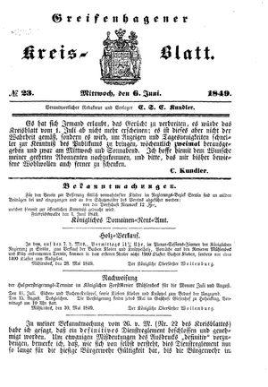 Greifenhagener Kreisblatt vom 06.06.1849