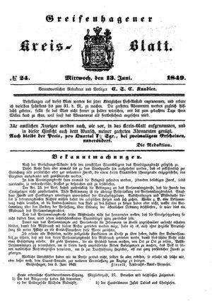Greifenhagener Kreisblatt on Jun 13, 1849
