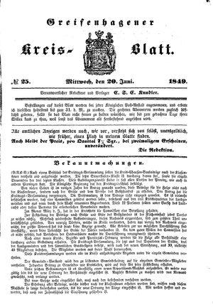 Greifenhagener Kreisblatt vom 20.06.1849