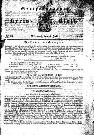 Greifenhagener Kreisblatt vom 04.07.1849