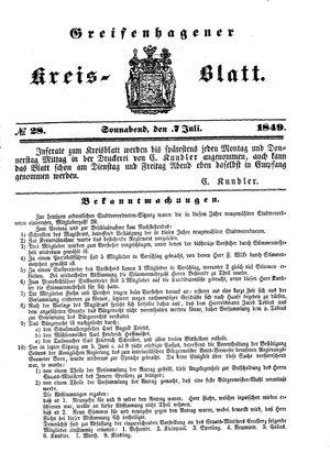 Greifenhagener Kreisblatt vom 07.07.1849