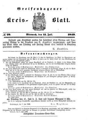 Greifenhagener Kreisblatt vom 11.07.1849
