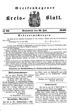 Greifenhagener Kreisblatt vom 21.07.1849