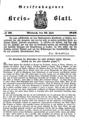 Greifenhagener Kreisblatt vom 25.07.1849