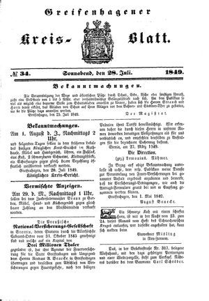 Greifenhagener Kreisblatt vom 28.07.1849