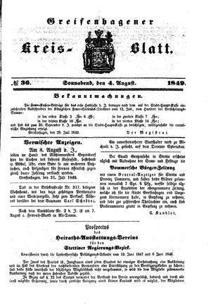 Greifenhagener Kreisblatt vom 04.08.1849