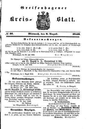 Greifenhagener Kreisblatt vom 08.08.1849