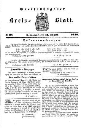Greifenhagener Kreisblatt vom 11.08.1849