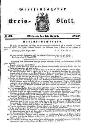 Greifenhagener Kreisblatt vom 15.08.1849