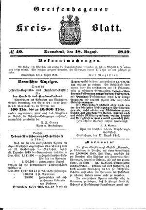 Greifenhagener Kreisblatt vom 18.08.1849