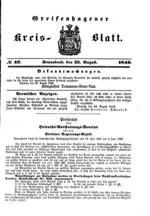 Greifenhagener Kreisblatt vom 25.08.1849