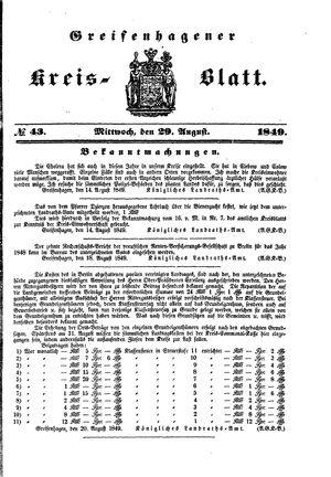 Greifenhagener Kreisblatt vom 29.08.1849