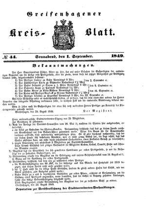 Greifenhagener Kreisblatt vom 01.09.1849