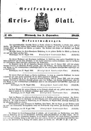 Greifenhagener Kreisblatt vom 05.09.1849