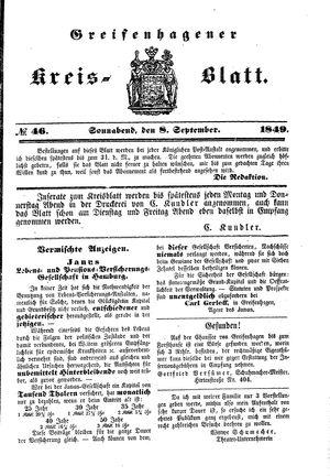 Greifenhagener Kreisblatt vom 08.09.1849