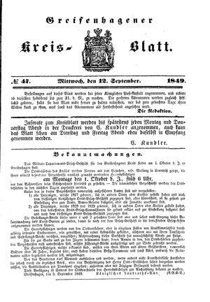 Greifenhagener Kreisblatt vom 12.09.1849