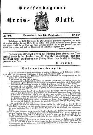Greifenhagener Kreisblatt vom 15.09.1849