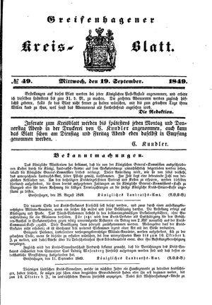 Greifenhagener Kreisblatt vom 19.09.1849