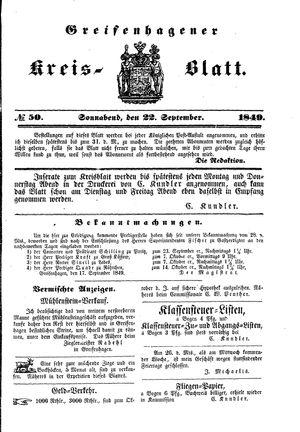 Greifenhagener Kreisblatt vom 22.09.1849