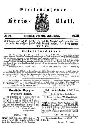 Greifenhagener Kreisblatt vom 26.09.1849