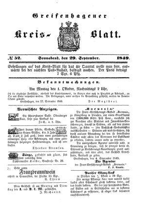 Greifenhagener Kreisblatt vom 29.09.1849