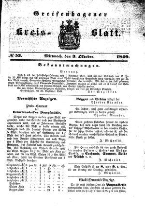 Greifenhagener Kreisblatt vom 03.10.1849