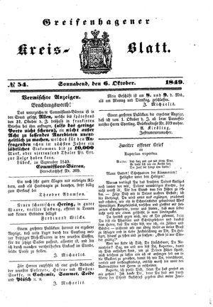 Greifenhagener Kreisblatt vom 06.10.1849