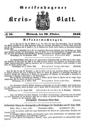 Greifenhagener Kreisblatt vom 10.10.1849