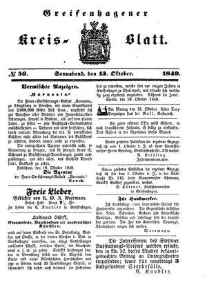 Greifenhagener Kreisblatt on Oct 13, 1849