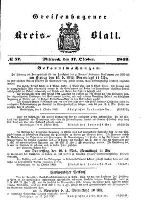 Greifenhagener Kreisblatt vom 17.10.1849