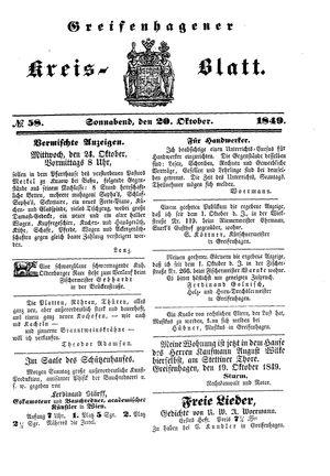 Greifenhagener Kreisblatt vom 20.10.1849