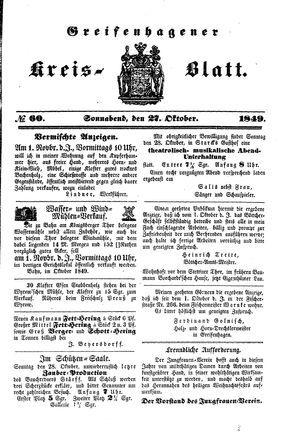 Greifenhagener Kreisblatt on Oct 27, 1849