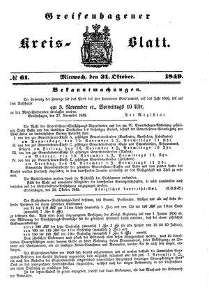 Greifenhagener Kreisblatt vom 31.10.1849