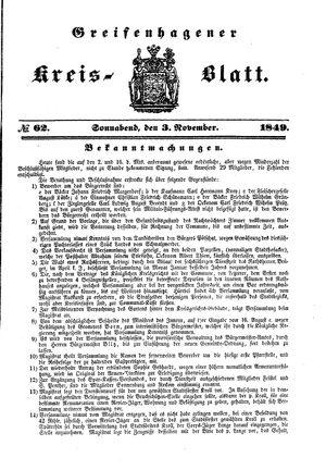 Greifenhagener Kreisblatt vom 03.11.1849