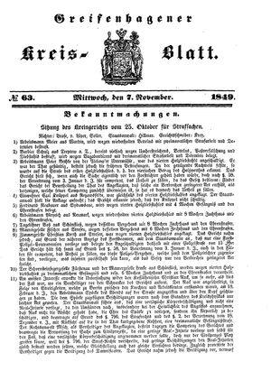 Greifenhagener Kreisblatt vom 07.11.1849