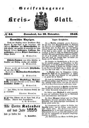 Greifenhagener Kreisblatt vom 10.11.1849