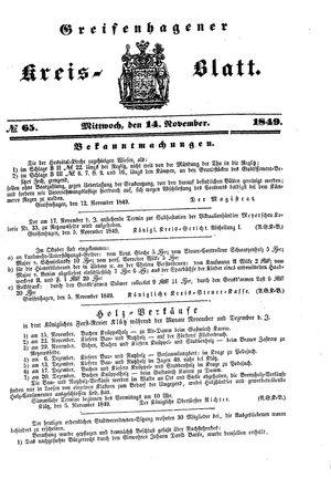 Greifenhagener Kreisblatt vom 14.11.1849